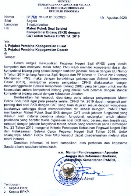surat menpan rb tentang kisi-kisi materi pokok skb cpns 2021 formasi cpns 2021 tomatalikuang.com