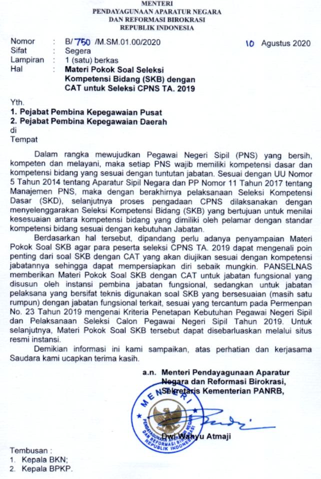 Download Materi Skb Cpns 2021 Formasi Cpns Tahun 2021 Pdf Surat Edaran Menpan Rb Nomor B 750 M Sm 01 00 2020