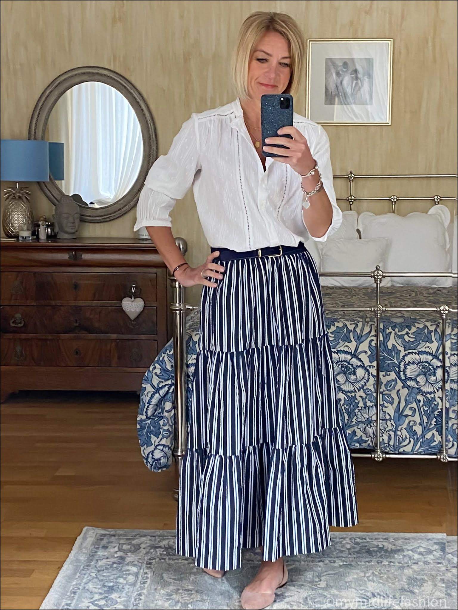 my midlife fashion, Great Plains hellos dobby shirt, j crew pony skin belt, parosh tiered maxi skirt, h and m nude ballet pumps