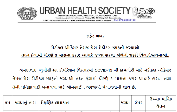 Ahmedabad  Municipal Corporation Recruitment for 150 Medical Officer & Para Medical Staff  Posts 2020
