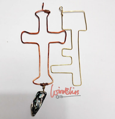 Wire wrapped cross and key - samples