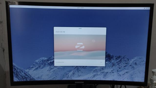 Progress tutorial install OS Zorin