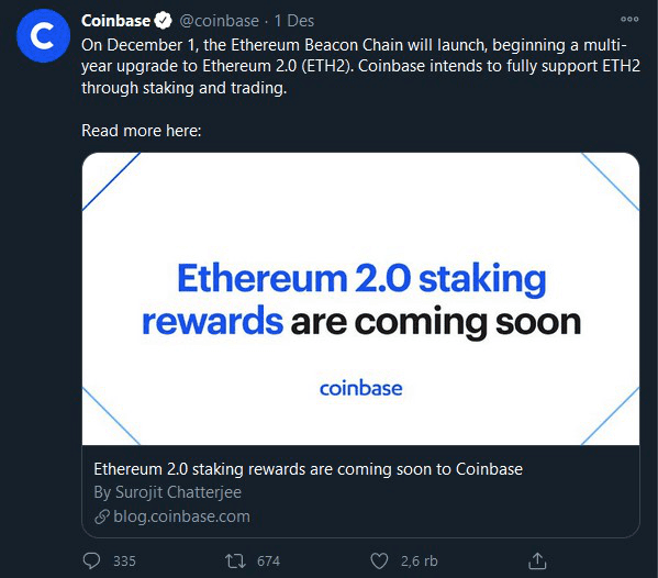 Launched! Coinbase Support For The Update of  ETH 2.0