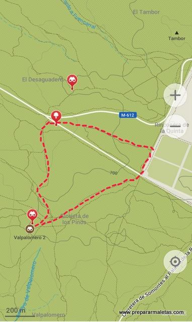 mapa ruta senderismo Monte El Pardo