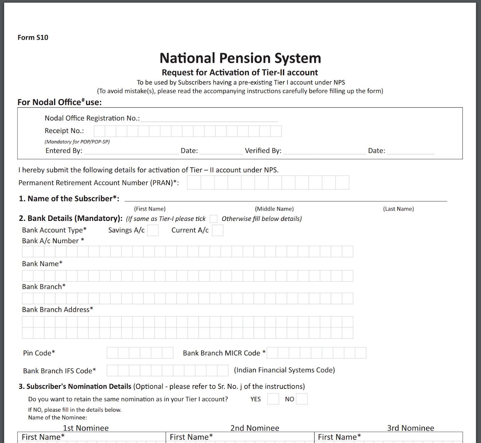 Screenshot of Annexure S10 for opening NPS Tier 2 account