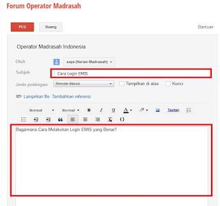 Forum Diskusi Operator Madrasah Online