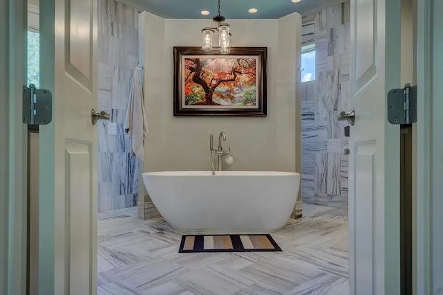 style a modern bathroom