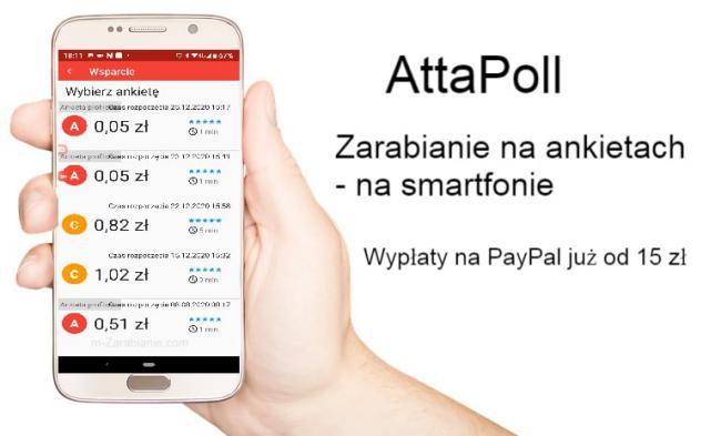 AttaPoll - zarabianie na ankietach za pomocą smartfonu