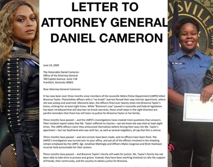 Beyoncé writes open letter to Attorney General Daniel Cameron to demand 'swift' justice for Breonna Taylor