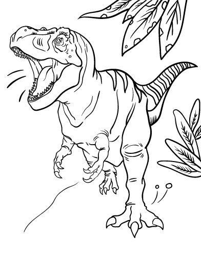 Tranh tô màu khủng long bạo chúa đang gầm