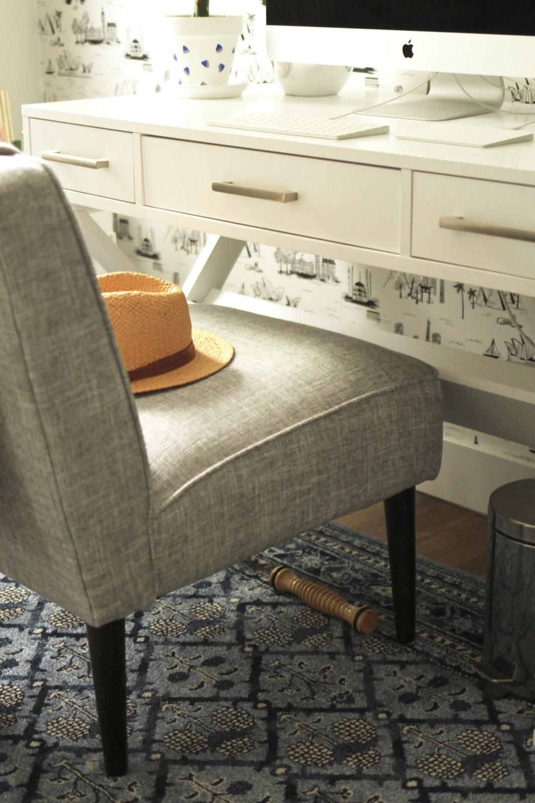 modern, blue, office, in home office decor, minimalist office, bellacor, white desk, criss cross legs