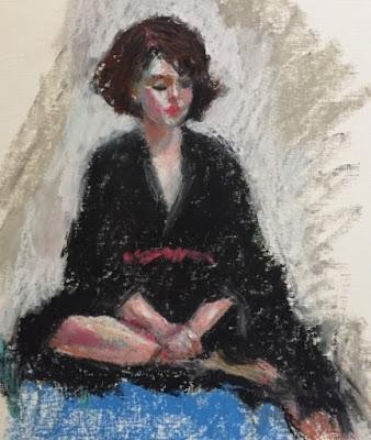 seated woman looking down wearing black robe loose painting