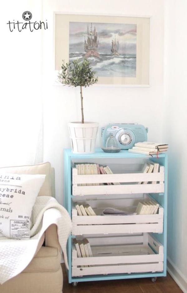 Estante de livros com caixotes de madeira,escritório, quarto