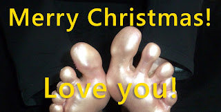 Karina's golden feet for christmas, barefoot, soles, toes, gold, foot fetish