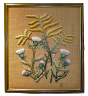 Thistle and Goldenrod, hooked by Kay Cousineau