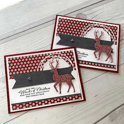 Cherry Cobbler Christmas Card with deer die cut from patterned papper