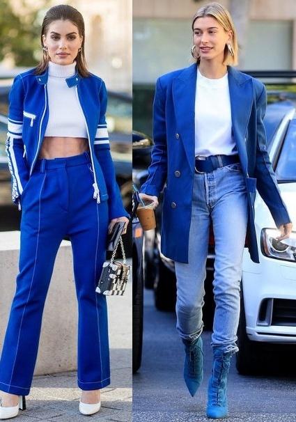 Looks cor do ano Classic Blue, Camila Coelho, Hailey Bieber