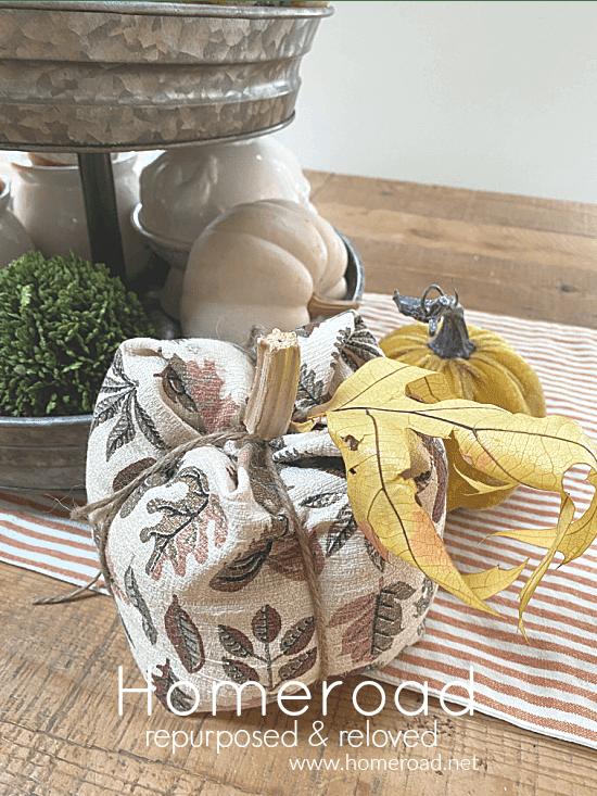 Vintage fabric pumpkin with Homeroad overlay