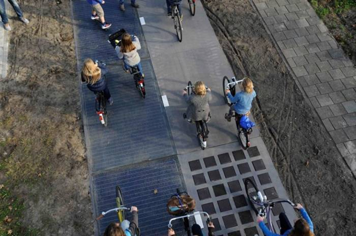 In Holland, bike lanes and motorways with solar panels first appeared.