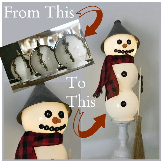Repurposed snowman from a bathroom light fixture