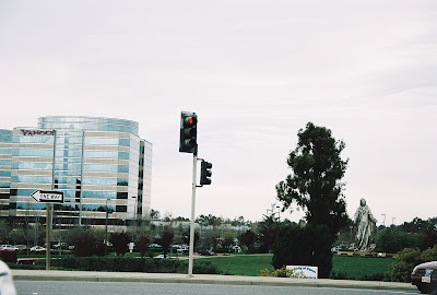 Yahoo, Immaculate Heart of Mary Statue, and Highway 101, Santa Clara, CA