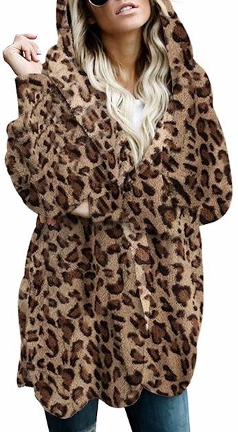 Women's Leopard Faux Fur Jackets Coats With Hood