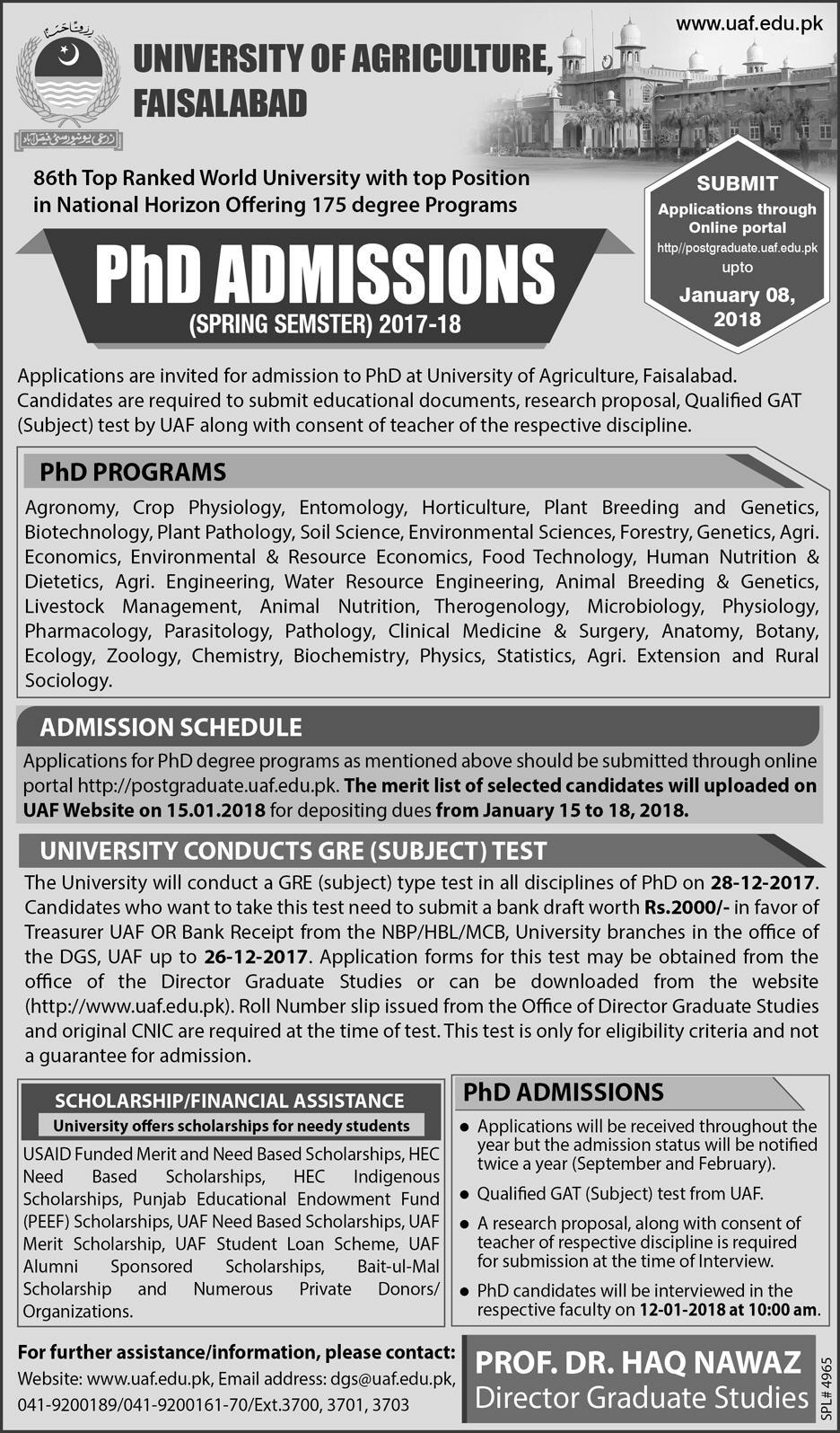 Admissions Open in University of Agriculture Faisalabad 2018