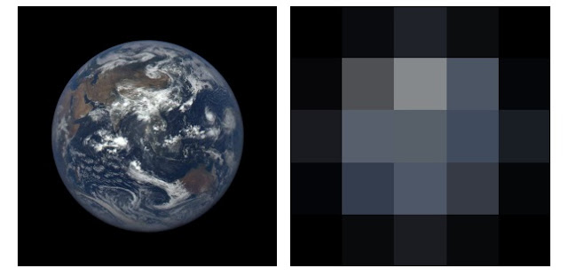 Left: EPIC image of the Earth viewed from the L1 Lagrange point. The image was acquired on August 17, 2015 at 05:42:50 UT. Right: The same image as that shown at left after it has been deconvolved to 5×5 pixel resolution. Photo Credit: Kane et al. (2015).