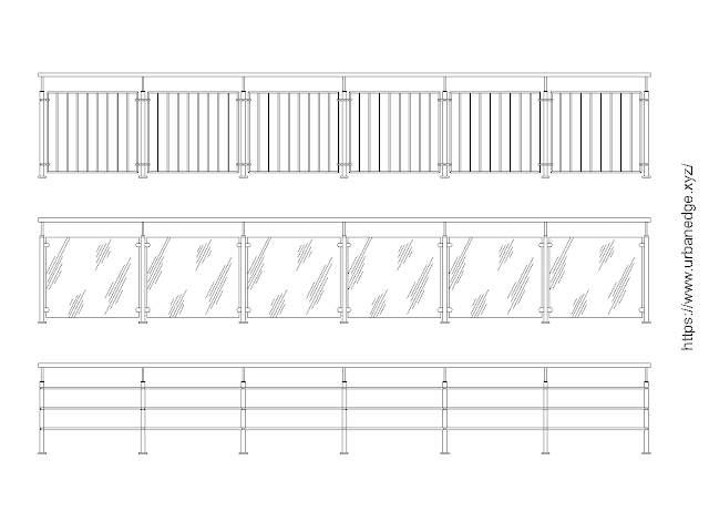 Modern Railing free cad blocks download - 3 Dwg Cad Models