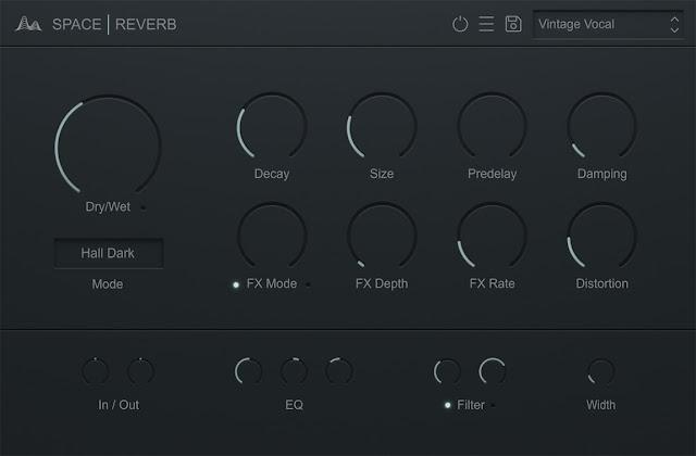 Interface do plugin Cymatics - Space 1.0.1