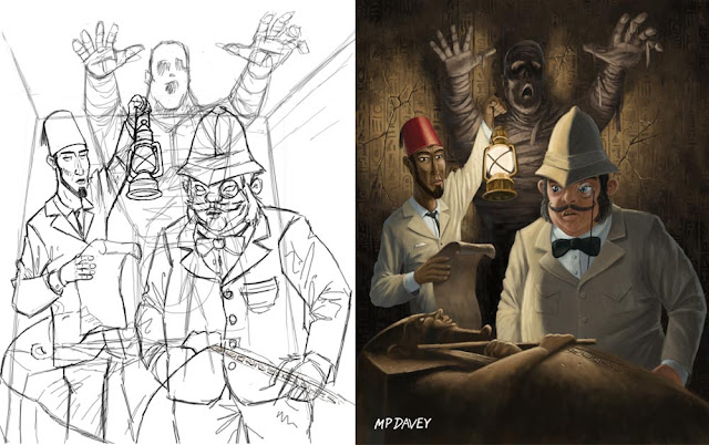 drawing vs final art mummy monster art