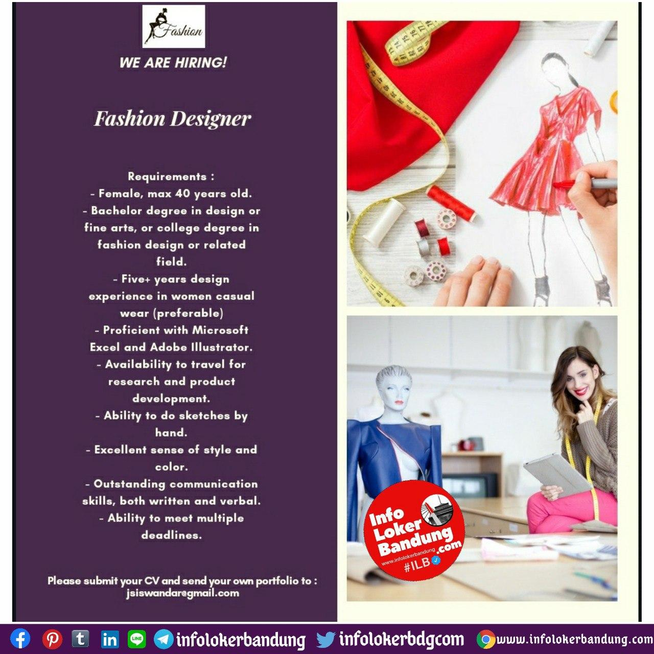 Lowongan Kerja Fashion Designer Bandung Agustus 2020