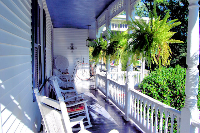 Sit a spell on the porch at the Claiborne House B&B in Rocky Mount Va