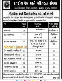 National Rail and Transportation Institute, Vadodara Recruitment 2020 for Various Posts