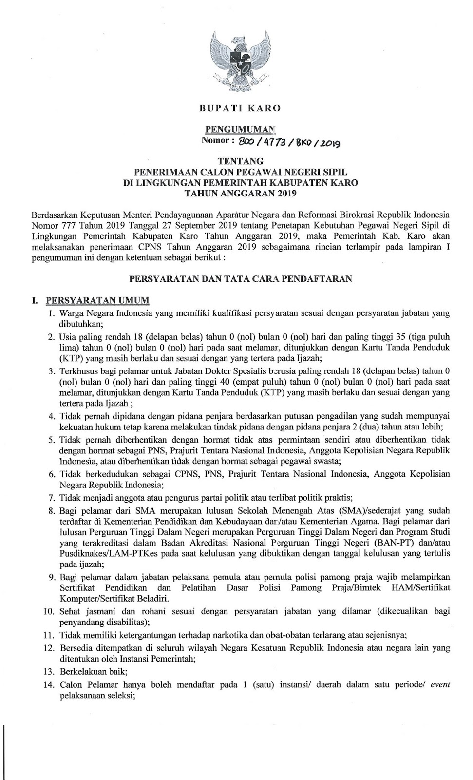 Lowongan CPNS Kabupaten Karo Tahun Anggaran 2019 [261 Formasi]