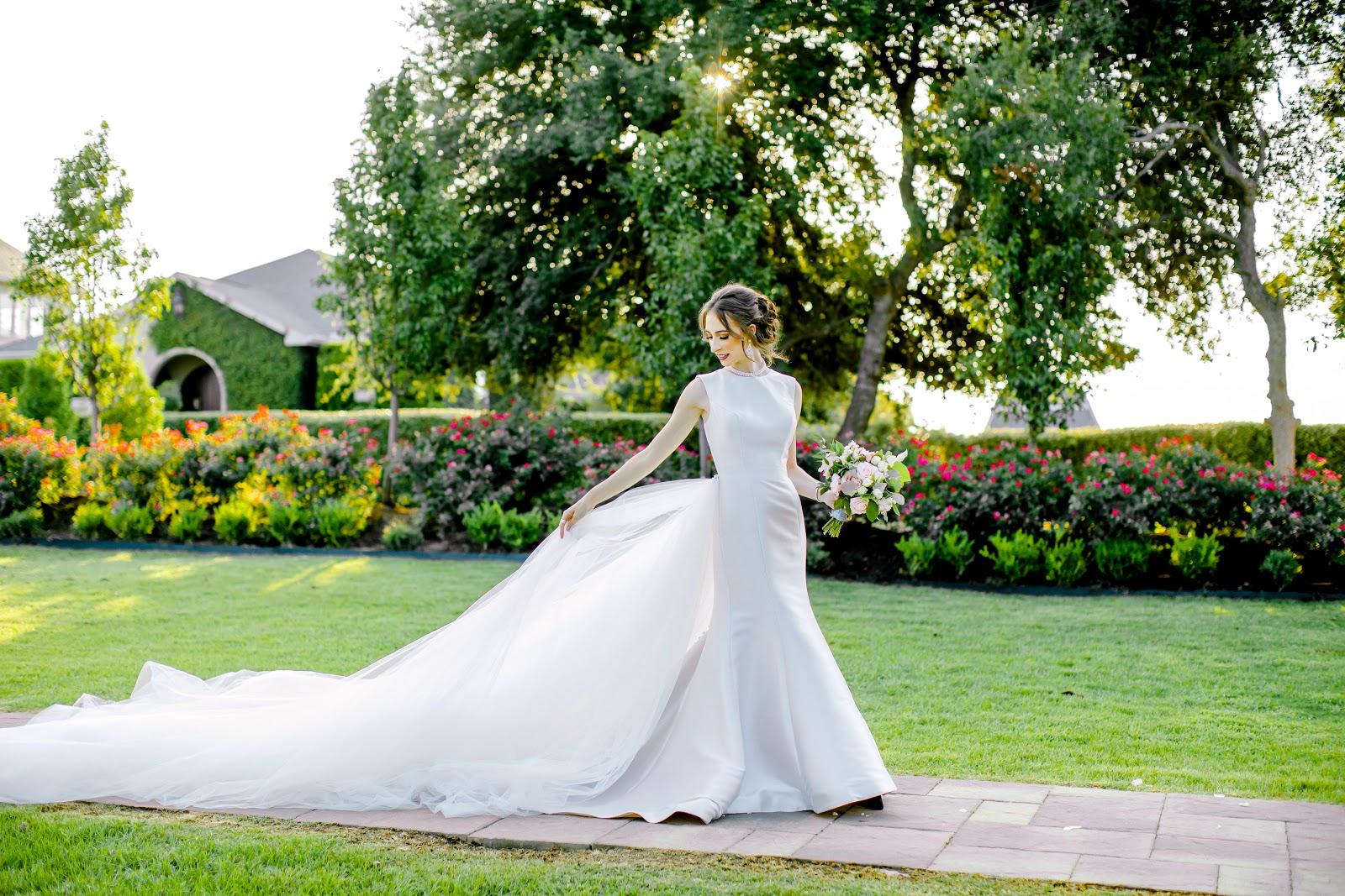 super long wedding train photo in garden