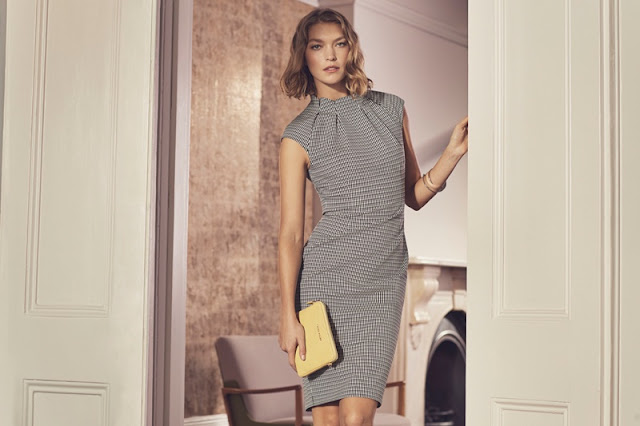 Karen Millen Pleat-Neck Detail Dress and Mini Croc Bag