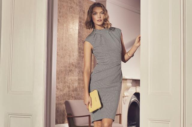 Karen Millen Pleat-Neck Detail Dress and Mini Croc Bag