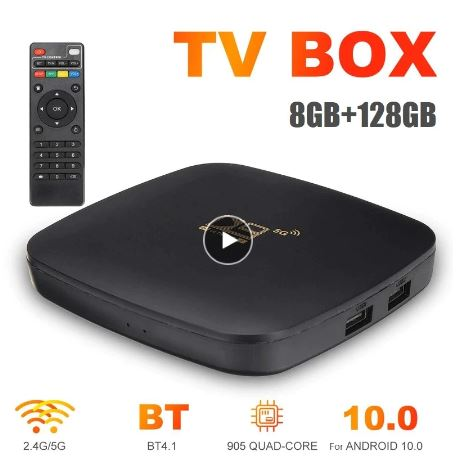 Smart TV BOX 8+128GB D9 Fast 100Mbps 2.4G/5G Dual WiFi RJ45 For Android 10.0 Ethernet 4K Set-Top Quad Core ARM Cortex A53 Player