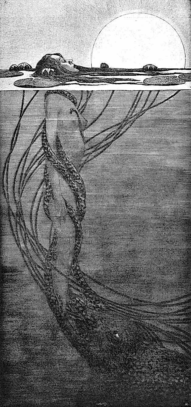 Fritz Hegenbart 1902, a floating woman is barely kep alive by an underwater monster, suggesting drug addiction