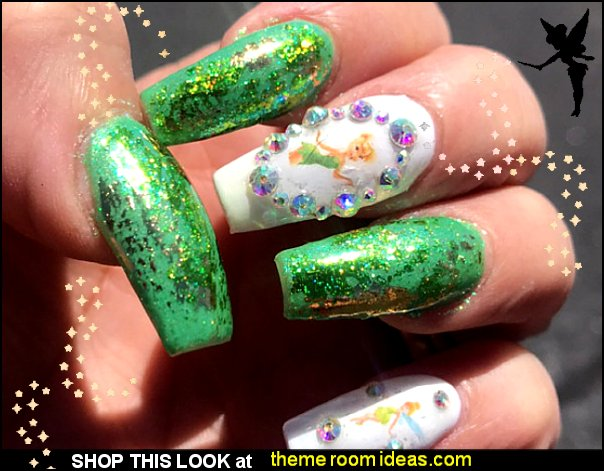 Tinkerbell Fairy nail stickers Tinkerbell Fairy nail decals Tinkerbell nail designs