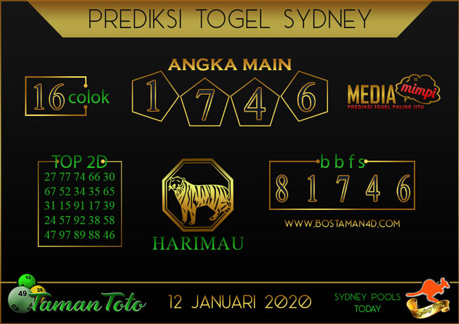Prediksi Togel SYDNEY TAMAN TOTO 12 JANUARI 2020