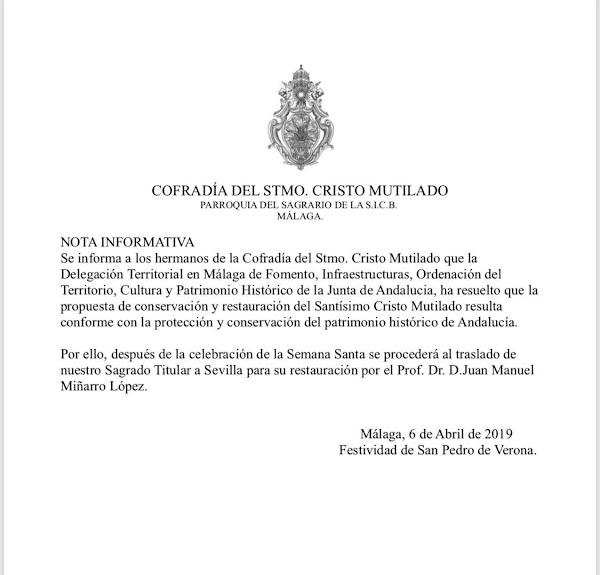 Miñarro hará las piernas al Cristo Mutilado de Málaga