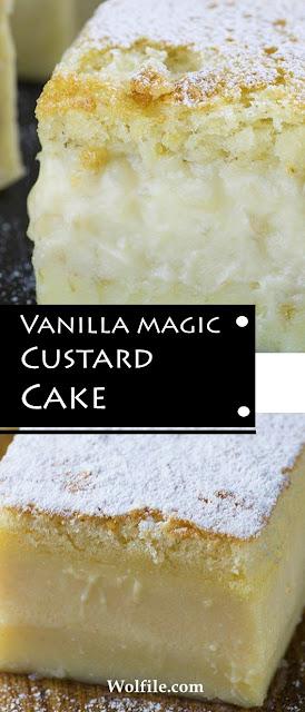 Vanilla Magic Custard Cake Recipe #Vanilla #Custard #Cake