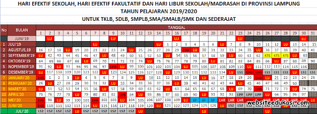 Kalender Pendidikan Provinsi Lampung Tahun 2019/2020