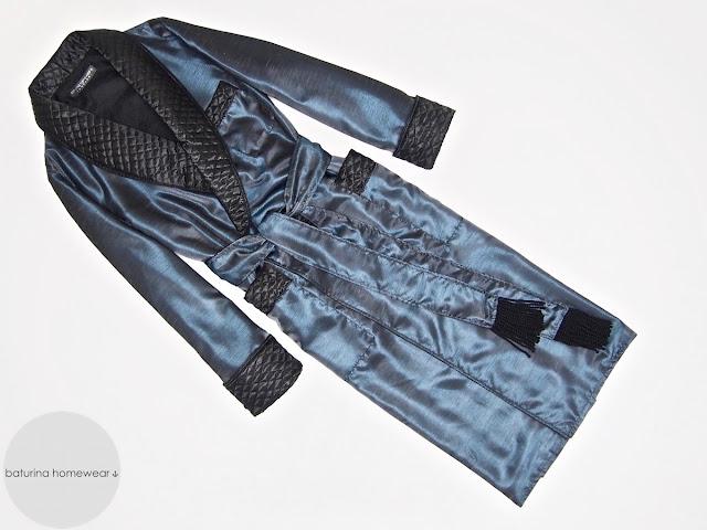 Men's luxury quilted silk dressing gown vintage gentleman robe long warm lightweight