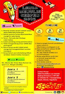 Lomba Menulis Cerita Pendek bagi Siswa SMA/MA/SMK Sederajat di DIY Jawa Tengah