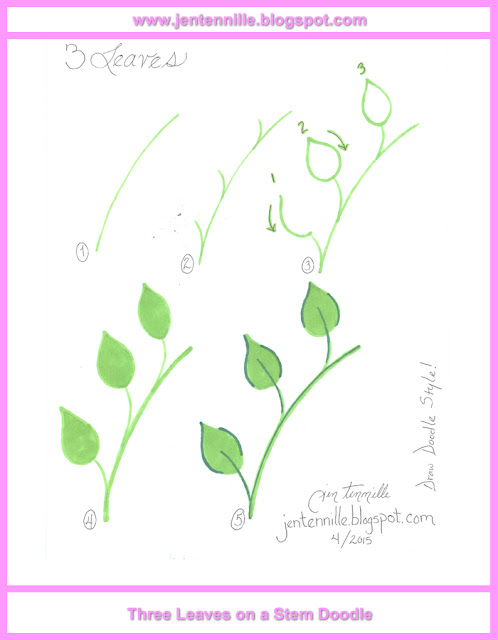 Three Leaves on a Stem Drawing Tutorial Step-by-Step