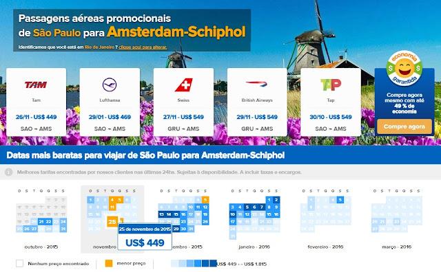 Comparador para passagens aéreas em promoção em Amsterdã