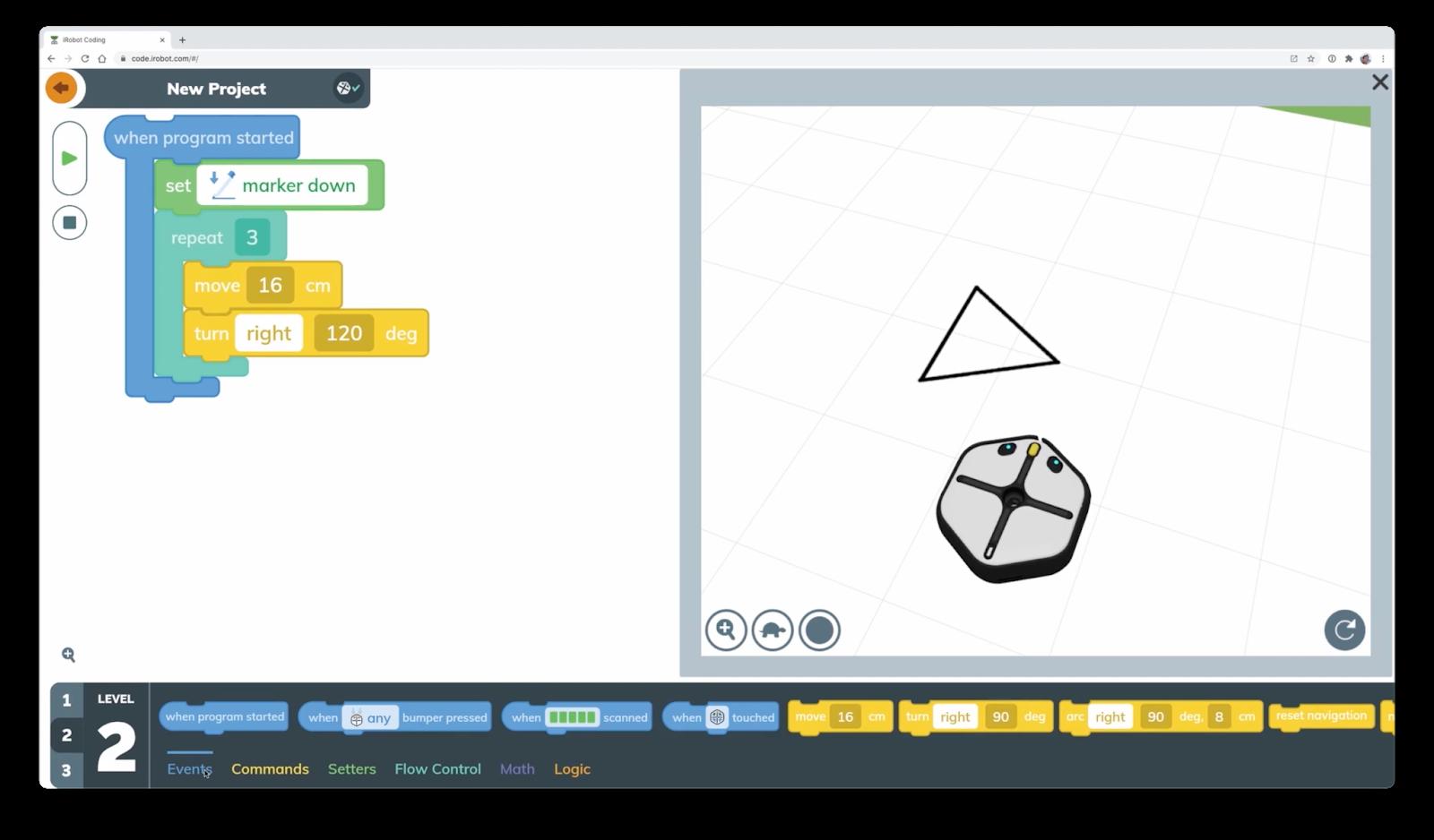 iRobot interface with Flutter